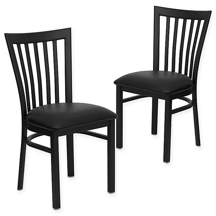 Alternate image 1 for Flash Furniture School Back Black Metal Chairs with Black Vinyl Seats (Set of 2)