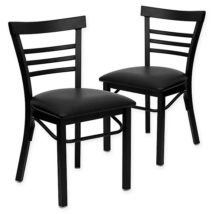 Alternate image 1 for Flash Furniture Ladder Back Black Metal Chairs with Black Vinyl Seats (Set of 2)