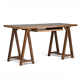 Simpli Home Sawhorse Desk in Saddle Brown