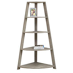Monarch Specialties Corner Accent Étagère Bookcase in Dark Taupe