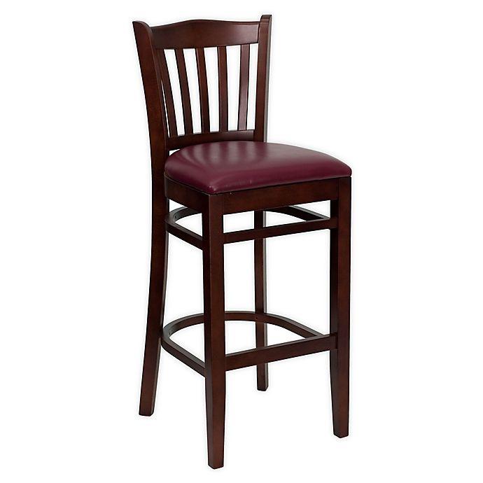 Alternate image 1 for Flash Furniture Wood Vertical Slat Back Stool in Burgundy/Mahogany with Cushion
