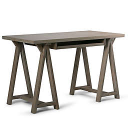 Simpli Home Sawhorse Solid Wood Small Desk in Distressed Grey