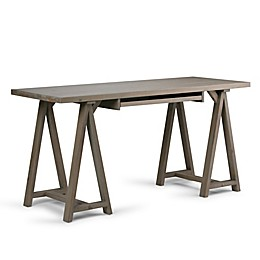 Simpli Home Sawhorse Desk in Distressed Grey