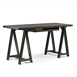 Simpli Home Sawhorse Desk in Saddle Brown