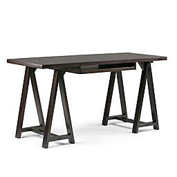 Simpli Home Sawhorse Desk in Dark Chestnut Brown