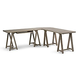 Simpli Home 3-Piece Sawhorse Corner Desk