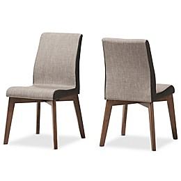 Baxton Studio Kimberley Dining Side Chair in Beige/Brown