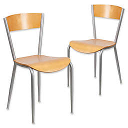 Flash Furniture Restaurant Chair in Natural/Silver (Set of 2)