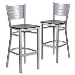 Flash Furniture Horizontal Slat Back Silver Metal Stools with Mahogany Wood Seats (Set of 2)