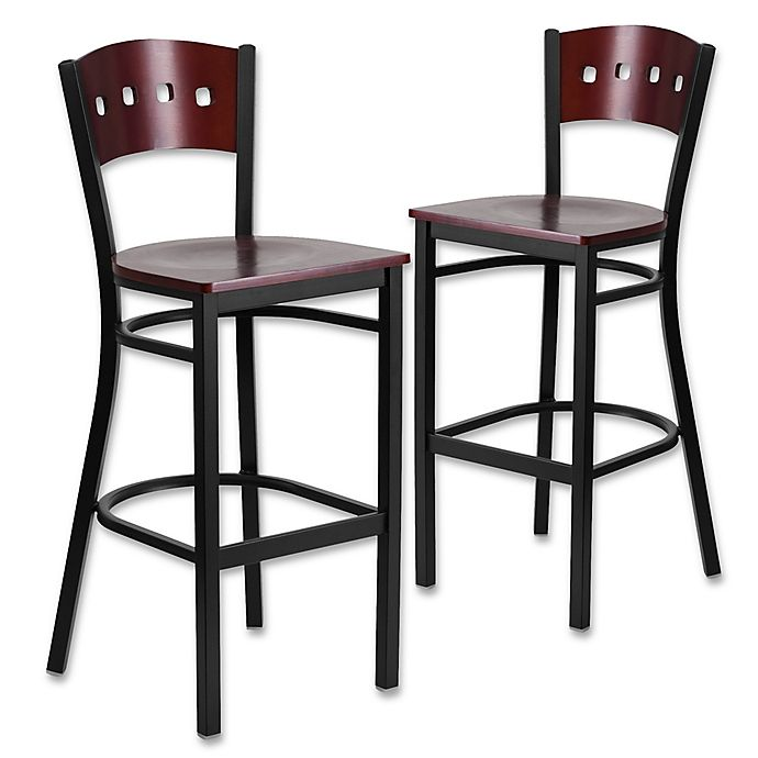 Flash Furniture Square Back Bar Stool In Mahogany Set Of