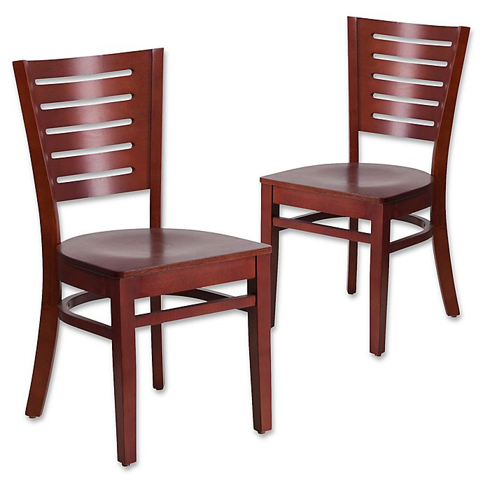 Alternate image 1 for Flash Furniture Slat Back Mahogany Wood Chairs (Set of 2)
