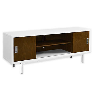 "Forest Gate 60"" Modern Wood TV Console with Sliding Doors in White/Walnut"