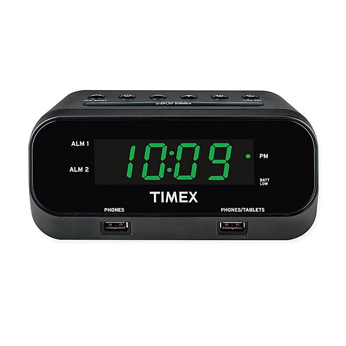 Alternate image 1 for Timex® RediSet Dual Alarm Clock with Dual USB Charging Ports
