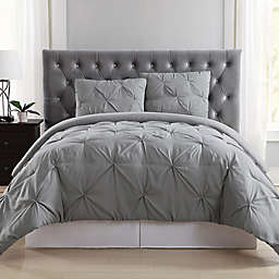 Truly Soft Pleated Grey Twin XL Duvet Set