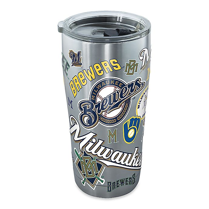 Alternate image 1 for Tervis® MLB Milwaukee Brewers All Over 20 oz. Stainless Steel Tumbler with Lid