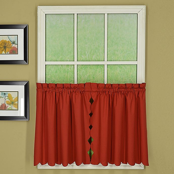 Alternate image 1 for Today's Curtain Orleans 36-Inch Rod Pocket Scallop Window Curtain Tier Pair in Brick Red