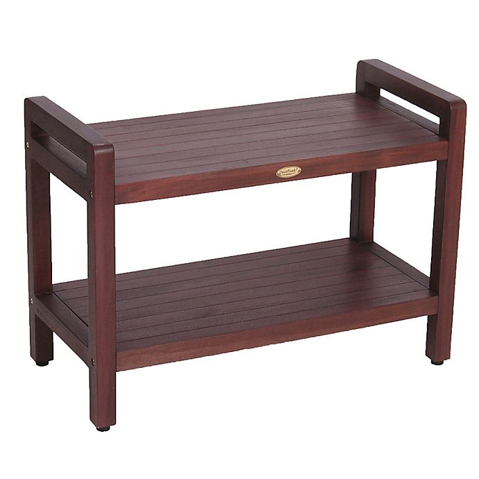 Alternate image 1 for Classic™ Solid Teak 29-Inch Stool with Aide™ Arms and Shelf