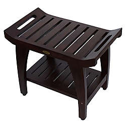 Tranquility® 24-Inch Teak Bench with Shelf and Arms