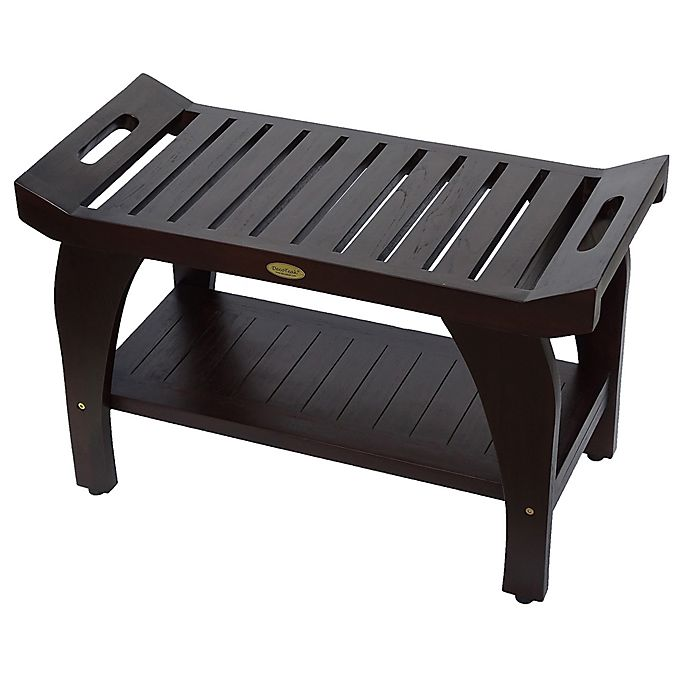 Tranquility 30 Inch Teak Shower Bench With Shelf Bed Bath Beyond