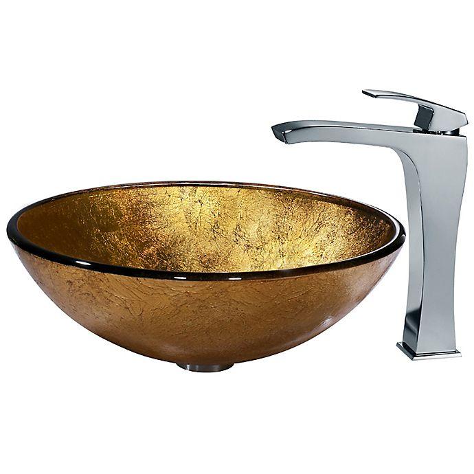 Alternate image 1 for Vigo VGT140 Liquid Gold Glass Sink and Vessel Faucet Set in Chrome