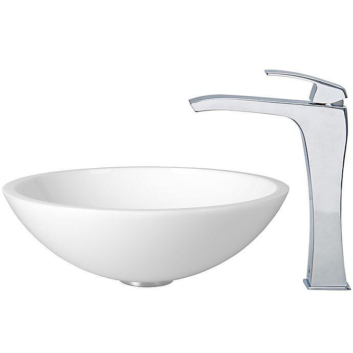 Alternate image 1 for Vigo VGT352 Phoenix Stone Sink and Vessel Blackstonian Faucet Set in Chrome