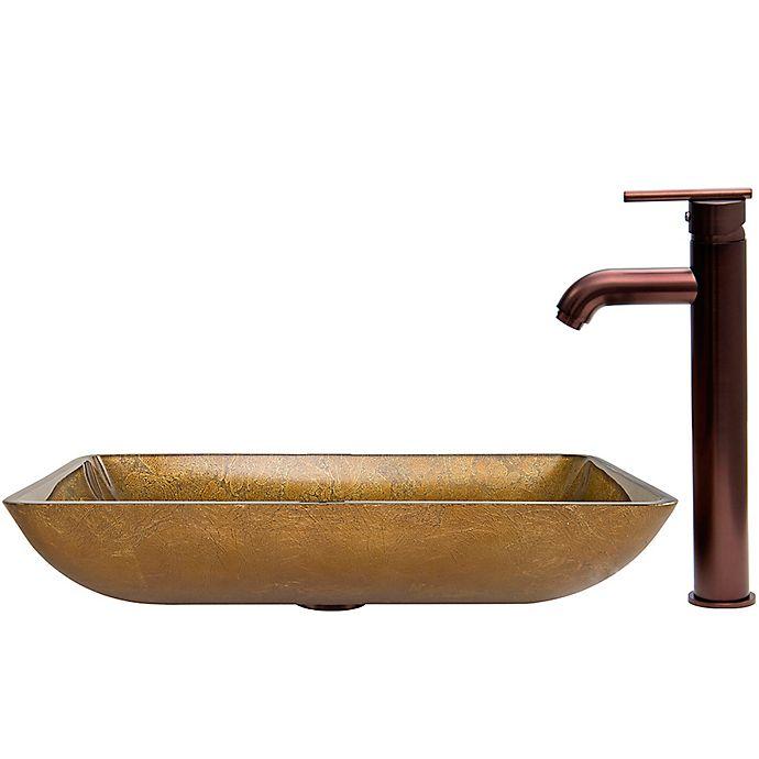 Alternate image 1 for Vigo VGT357 Rectangular Glass Sink and Seville Faucet Set in Oil Rubbed Bronze