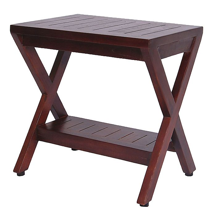 Alternate image 1 for Obliquit™ 18-Inch Teak Shower Bench with Shelf