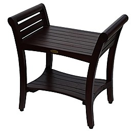 Symmetry™ 24-Inch Teak Bench with Shelf and LiftAide™ Arms