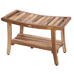 EcoDecors® Teak Harmony™ 30-Inch Bench with Shelf and Arms