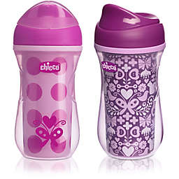 Chicco® NaturalFit® 2-Pack 9 oz. Insulated Rim-Spout Trainer Cups in Pink/Purple