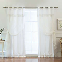Decorinnovation Lace Overlay Propose 84-Inch Grommet Top Window Curtain Panel Pair in White