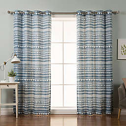 Decorinnovation Nordic Geometric Tribal 84-Inch Grommet Top Window Curtain Panel Pair