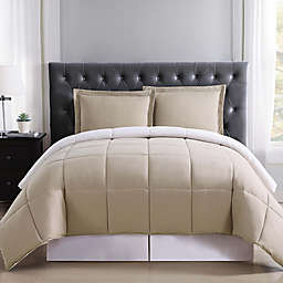 Truly Soft Everyday 2-Piece Reversible Twin XL Comforter Set in Khaki/Ivory