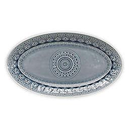 Euro Ceramica Fez 14.5-Inch Oval Platter in Grey