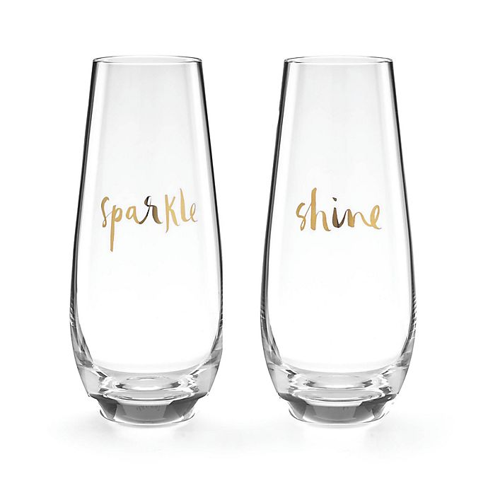 Alternate image 1 for kate spade new york Oh What Fun Stemless Champagne Flutes (Set of 2)