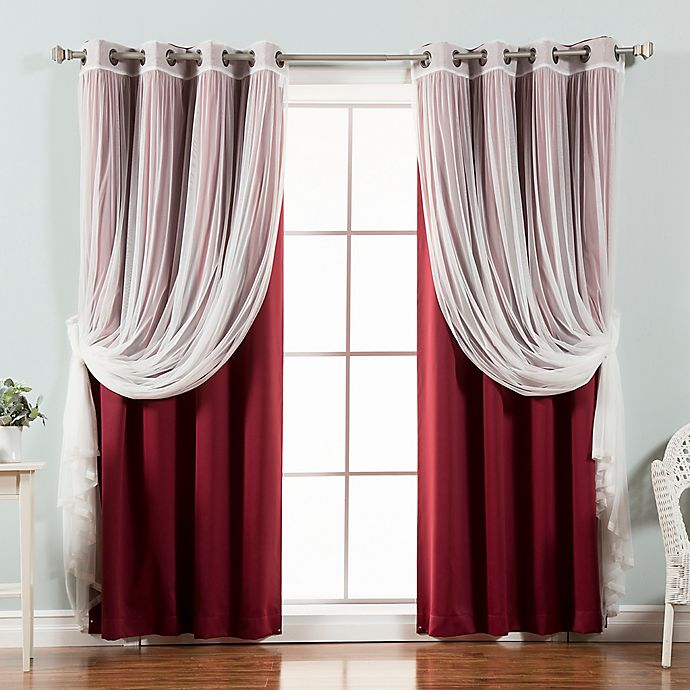Alternate image 1 for Decorinnovation Mix & Match Tulle 96-Inch Blackout Window Curtain Panel Pair in Burgundy