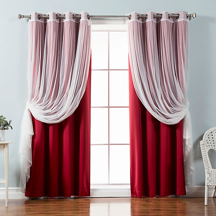 Alternate image 1 for Decorinnovation Mix & Match Tulle 84-Inch Blackout Window Curtain Panel Pair in Cardinal Red