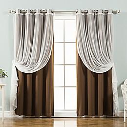 Decorinnovation Mix & Match Tulle Grommet Top Blackout Window Curtain Panel Pair