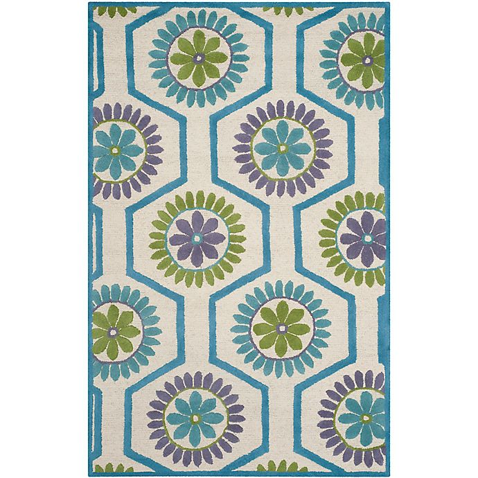 Alternate image 1 for Safavieh Cambridge 6-Foot x 9-Foot Mia Wool Rug in Ivory and Blue