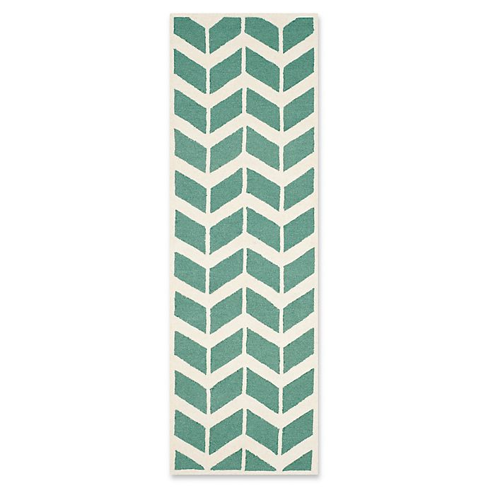 Alternate image 1 for Safavieh Cambridge 2-Foot 6-Inch x 8-Foot Aria Wool Rug in Teal/Ivory