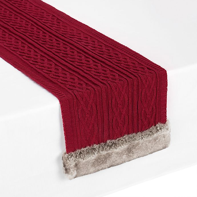 Alternate image 1 for UGG® Cable Knit 90-Inch Table Runner