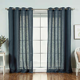 Decorinnovation Faux Linen 84-Inch Grommet Top Window Curtain Panel Pair