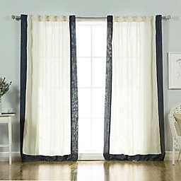Decorinnovation Linen Blend Border 84-Inch Rod Pocket Window Curtain Panel Pair