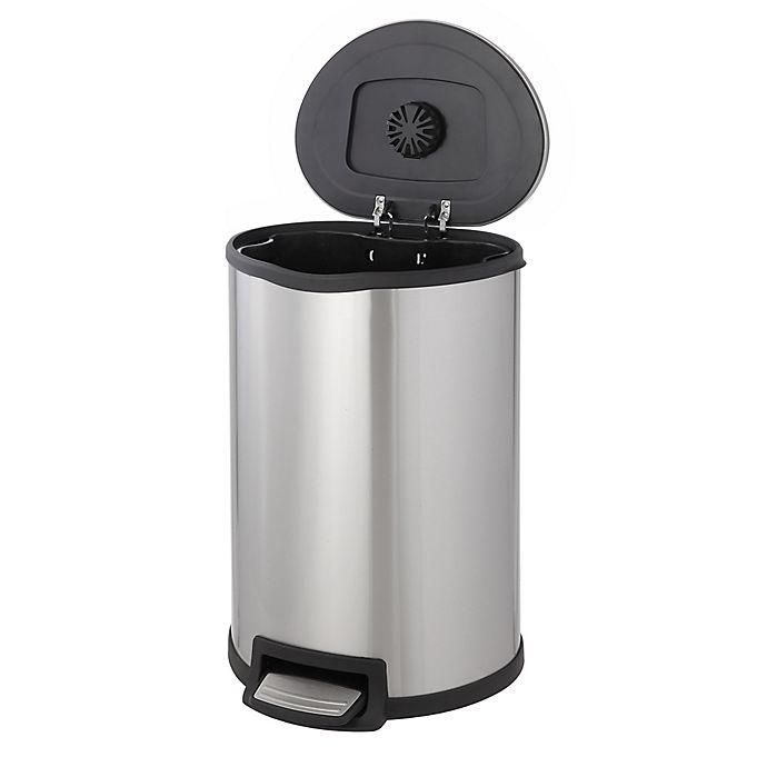 Alternate image 1 for 11.88-Gallon Round Stainless Steel Step Waste Bin
