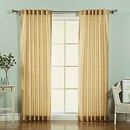 Decorinnovation Faux Silk Candy Stripe 84-Inch Rod Pocket Window Curtain Panel Pair