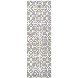 Safavieh Cambridge 2-Foot 6-Inch x 22-Foot Ava Wool Rug in Silver/Ivory