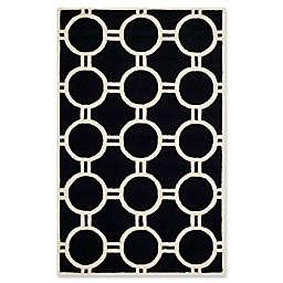 Safavieh Cambridge 5' x 8' Morgan Wool Rug in Black/Ivory