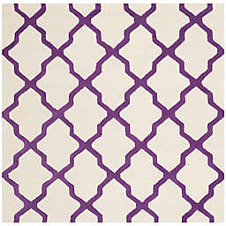 Safavieh Cambridge 6-Foot x 6-Foot Quatrefoil Wool Rug in Ivory/Purple