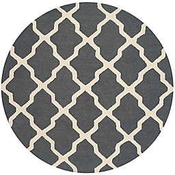 Safavieh Cambridge 8-Foot x 8-Foot Quatrefoil Wool Rug in Dark Grey/Ivory