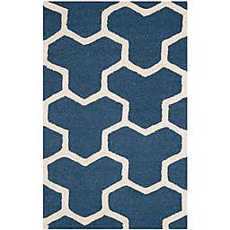 Safavieh Cambridge 2-Foot x 3-Foot Lia Wool Rug in Navy Blue/Ivory